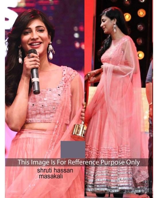 Shruti Hasan Pink Net Bollywood Lehenga Choli