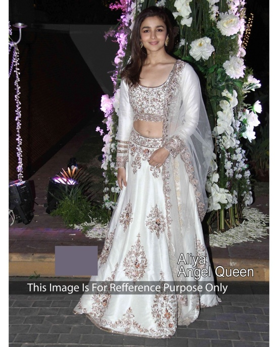 Aliya Bhatt in white net lehenga