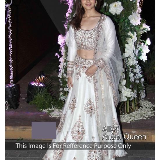 Aliya Bhatt in white net lehenga