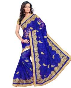 Blue Color Net Saree With Blouse