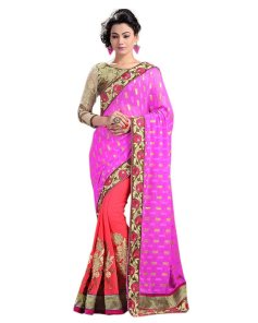 Pink Color Jacquard Designer Saree With Blouse